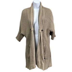 Guess Taupe Chunky Open Front Cardigan